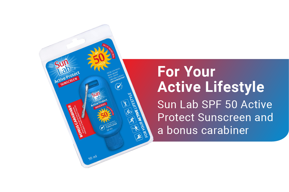 You deserve a sunscreen that supports your active lifestyle. Choose Sun Lab Active Protect Sunscreen with SPF 50 and a bonus carabiner